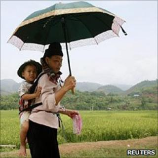Woman and baby with rice field