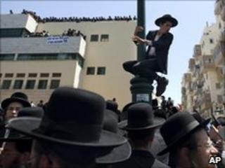 Ultra-Orthodox Jewish men protest in Bnei Brak, Israel, 17 June