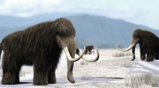 Artist's impression of mammoths in North America