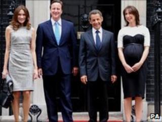 David Cameron, Nicolas Sarkozy, Samantha Cameron and Carla Brun-Sarkozy