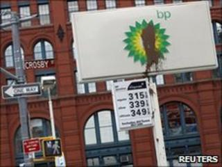 A substance is seen smeared on the sign of a BP petrol station in New York