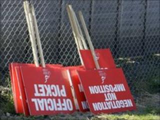 Placards for use by strikers