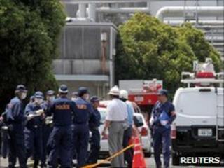 Investigators at the Ujina factory in Hiroshima on 22 June 2010