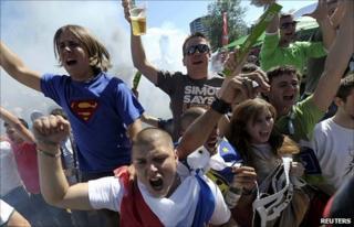 Slovenian fans in Ljubljana