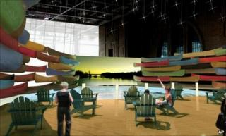 Artist's rendition of the water feature at the G20 media centre in Toronto (image provided by Canadian government)