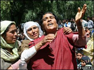 "The mother of one of three men who were allegedly killed in a ""fake encounter"" in Kashmir in April"