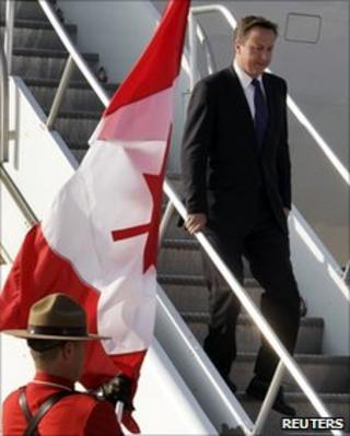 David Cameron arriving in Canada