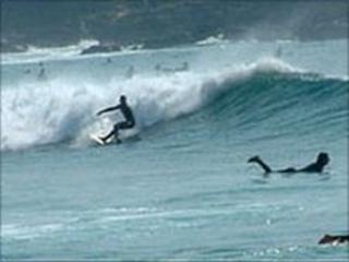 Surfers in sea