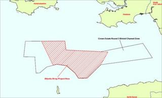 Zone map showing site of proposed off-shore windfarm