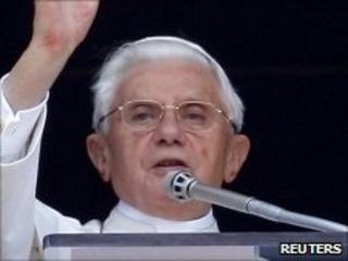 Pope Benedict XVI leads the Angelus prayer in St Peter's Square at the Vatican - 27 June