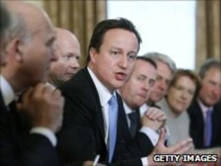 PM David Cameron leads his first cabinet meeting at 10 Downing St