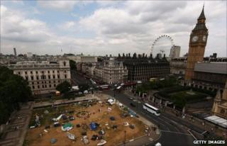 Tents in Parliament Square