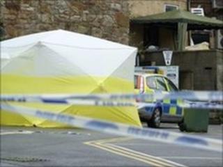 Forensic tent at car park in Caernarfon