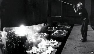 Steel worker at a British Steel hot plate mill