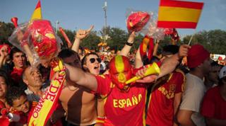 Spanish football fans in Madrid
