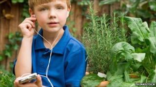 Boy listening to an iPod