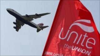BA plane and Unite banner