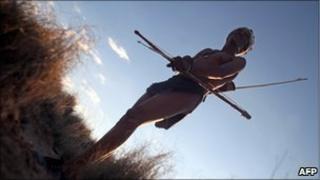 A Basarwa man in the Kalahari