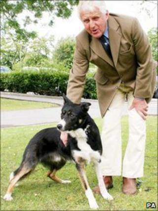 John Bell and Ron the sheepdog