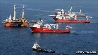 Ships near the site of the Deepwater Horizon oil spill 23.7.10