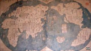 The Economist handout of an ancient map that may prove it was Admiral Zheng who discovered America and not Christopher Columbus