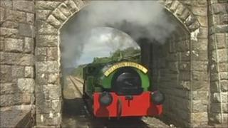 Steam train on Helston Railway