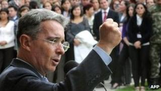 Alvaro Uribe gives a farewell speech at the Colombian defence ministry on 27 July