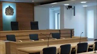 Inside a courtroom