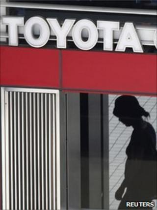 Woman outside Toyota building