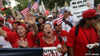 Protesters demonstrate against Arizona's immigration law in Phoenix, Arizona, 29 July, 2010