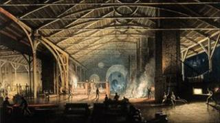 Detail from Cyfarthfa Rolling Mill at Night by Penry Williams