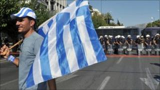 Greek lorry driver during protest in front of parliament in Athens - 30 July 2010