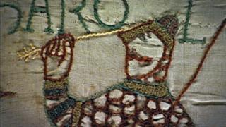 Bayeux Tapestry: Harold with an arrow through his eye
