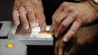 Man being fingerprinted