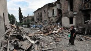 Damaged buildings in Gori, Georgia