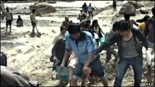 TV grab of floods in Leh