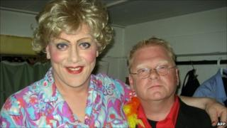 Jon Gnarr (left) poses with the director of Reykjavik­ Gay Pride festival, Heimir Mar Petursson (5 August 2010)
