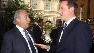 David Cameron talks to Sir Philip Green