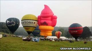 Tethered balloons on Sunday morning