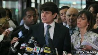 Rod Blagojevich speaks to the press after the verdict in his corruption trial in Chicago, 17 August 2010