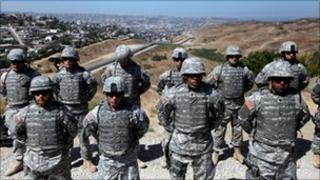 US National Guard troops at the Mexico border