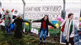 Protesters at Greenham Common in the 1980s