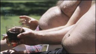Men with beer bellies