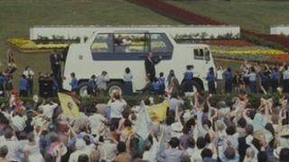 The Popemobile in Bellahouston Park, 1982
