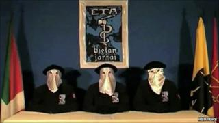 A frame grab taken from footage shows members of Basque separatists Eta declaring a ceasefire