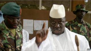 President Yahya Jammeh shows his finger after voting in 2006