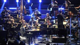 Jamie Cullum performs with the Heritage Orchestra at the Royal Albert Hall for BBC Late Night Proms
