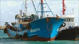 The Chinese fishing vessel being led into a Japanese port 8 September 2010