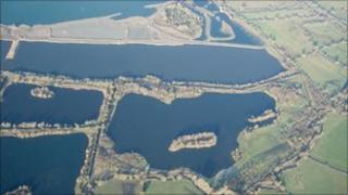 Aerial view of Cotswold Water Park: Picture by R H Bewley