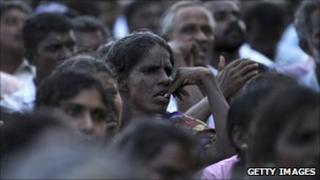 Tamil civilians in Kilinochchi (July 2010) during a visit by President Rajapaksa